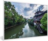 Foto in lijst - De tempel langs de rivier in Nanjing fotolijst wit 60x40 cm - Poster in lijst (Wanddecoratie woonkamer / slaapkamer)