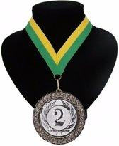 Kampioensmedaille nr. 2 aan geel en groen lint