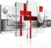 Schilderij - Harmonie in rood , wit grijs, 5 luik , 2 maten