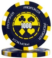 Pokerchip Pro Poker Clay Chip 13,5 Gram Geel 1000 Per 25