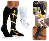 Duopack Compressiekousen / Steunkousen - Elastische Hardloop / Sport / Vliegtuig Compressie Sokken - Running Travel Sock - Reissokken / Reis Kousen - Heren/Dames - Zwart