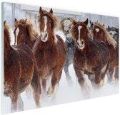 Hardlopende paarden in de sneeuw Glas 60x40 cm - Foto print op Glas (Plexiglas wanddecoratie)