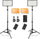 Draadloze Studio Lichten Set 3200 K/5500 K - Studio Lamp - Fotolamp Op Accu Fotografie + GRATIS Opbergtas -TL160S