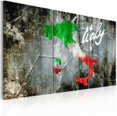 Schilderij - Artistieke kaart van Italië, 3luik