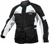 JET - Motor Motorjas Heren Textiel waterdicht CE - Protectie Titan (XL, Zilver Zwart)