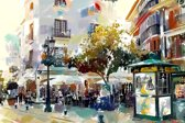 Plein met terras in Spanje, Andalusië, Velez Malaga   abstract, modern, sfeer, stad   Foto schilderij print op Glas (plexiglas wanddecoratie)   60x40cm