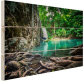 Erawan waterval in jungle Hout 160x120 cm - Foto print op Hout (Wanddecoratie) XXL / Groot formaat!