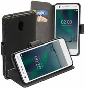 MP case zwart book case style voor Nokia 2 wallet case hoesje