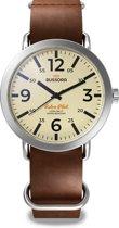 Bussora RetroPilot Classico Marrone Cioccolato - Horloge - Mannen - Leer - Bruin - Ø 44 mm