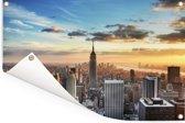 Indrukwekkende lucht boven het Empire State Building in Amerika Tuinposter 90x60 cm - Tuindoek / Buitencanvas / Schilderijen voor buiten (tuin decoratie)