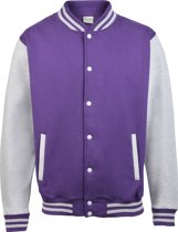 AWDis Varsity jacket, Purple/Heather Grey, Maat S