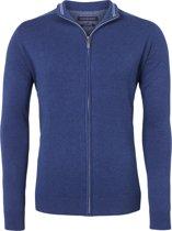 Casa Moda heren vest katoen - blauw (met rits) -  Maat XL