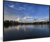 Foto in lijst - Schitterende horizon in Calcutta India fotolijst zwart 60x40 cm - Poster in lijst (Wanddecoratie woonkamer / slaapkamer)