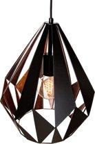 EGLO Vintage Carlton 1 - Hanglamp - 1 Lichts -Ø310mm. - Zwart, Koper