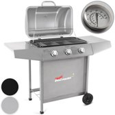 Trend24 - BBQ gas grill met 3 grote branders in zwart + hoes + gasslang + regulator + thermostaat