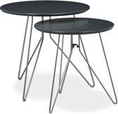 relaxdays - bijzettafel - bijzettafeltjes set van 2 - salontafel - metaal hout