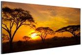 Zonsondergang in de Serengeti Aluminium 120x80 cm - Foto print op Aluminium (metaal wanddecoratie)