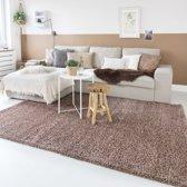 Hoogpolig vloerkleed shaggy Trend effen - mokka 100x200 cm