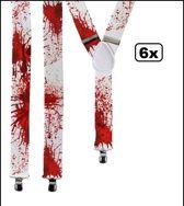 6x Bretel wit met bloed scary