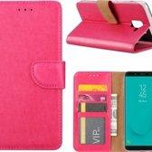 Samsung Galaxy J6+ (Plus) 2018 case Roze Portemonnee hoesje met opbergvakjes