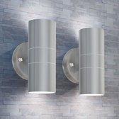 LED-wandlamp buiten op-/neerwaarts RVS 2 st (incl. Tyraps)