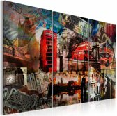 Schilderij - Londen collage, Multi-gekleurd, 2 Maten, 3luik