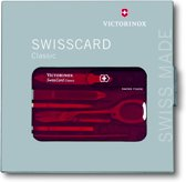 Victorinox SwissCard Classic 10 Functies - Transparant Rood