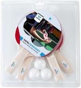 Tafeltennisset 4 tafeltennisbats 1 ster met 3 kunststof ballen