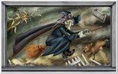 Halloween scenesetter vliegende heks