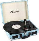 Fenton RP115 platenspeler met Bluetooth, USB, AUX-in en Audacity software in vrolijke blauwe koffer