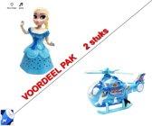 2pack speelgoed -Dansende Prinsesje Elsa (muziek en lichtjes) + Helikopter met led lichtjes + geluid - inclusief batterijen