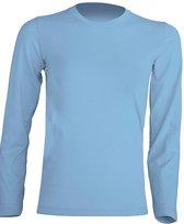 JHK kinder t-shirt lange mouw kleur sky blue maat 3-4 jaar (104) - Set van 2 stuks
