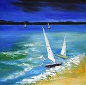 Schilderij strand 80x80 Artello - Handgeschilderd - Woonkamer schilderij - Slaapkamer schilderij - Canvas - Modern