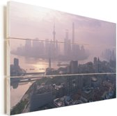 De zonsopgang boven de Bund en Shanghai in China Vurenhout met planken 90x60 cm - Foto print op Hout (Wanddecoratie)