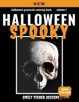 Halloween Grayscale Coloring Book - Spooky!: Halloween Grayscale Coloring Book For Adults With Color Guide - Halloween Coloring Book For Adults Relaxa