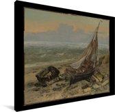 De vissersboot - Schilderij van Gustave Courbet Canvas 40x30 cm - klein - Foto print op Canvas schilderij (Wanddecoratie woonkamer / slaapkamer)