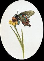 Thea Gouverneur Borduurpakket 1020 Vlinder Bruin Groen - Linnen stof