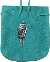 SUEDE POUCH TURQUOISE- ANGEL WING