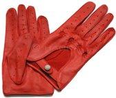 Laimböck San Diego dames leren autohandschoenen met hele vingers - rood - maat 7