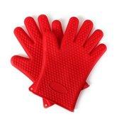 Siliconen ovenhandschoenen met hartjes patroon - rood - rode ovenwanten  - BBQ handschoenen - set van 2
