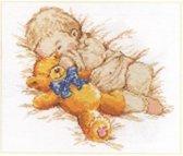 Zoon met beer borduren (pakket)