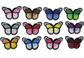 Strijk embleem 'Vlinders groot patch set (12)' – stof & strijk applicatie