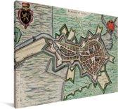 Historische stadskaart van Bergen op Zoom Canvas - Plattegrond 30x20 cm - klein - Foto print op Canvas schilderij (Wanddecoratie woonkamer / slaapkamer)