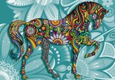 Fotobehang Horse Flowers Abstract Colours | PANORAMIC - 250cm x 104cm | 130g/m2 Vlies