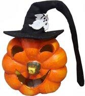 Halloween pompoen met heksenhoed - set van 2 stuks