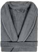 Badjas Badstof Uni Pure Royal met Shawlkraag maat L antraciet donkergrijs - 1 stuks