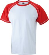 Heren t-shirt wit/rood L