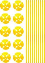 Ballonstokjes Geel met houders 40cm 10 stuks