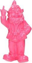 Tuinkabouter roze middelvinger 30 cm