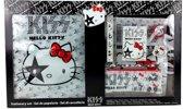 Hello Kitty Kiss rugtasje zwart/wit/grijs met inhoud !